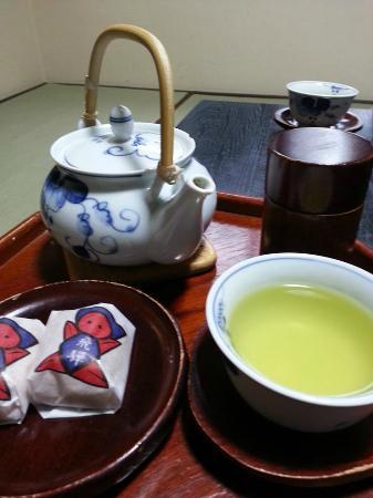 Oyado Yamakyu: Our tea tray in our room