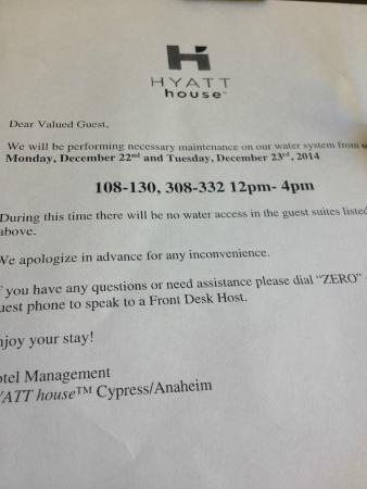 HYATT house Cypress/Anaheim: No water from 10 AM (happened twice)