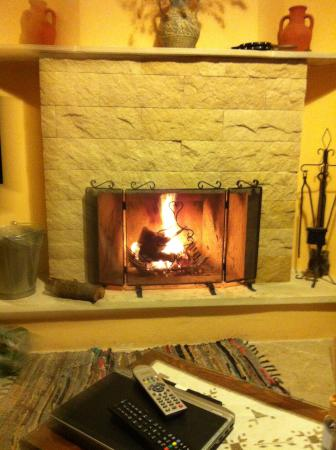 Vavla Rustic Retreat: real fire place
