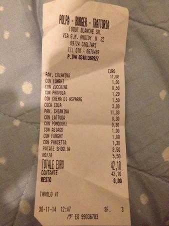 Polpa Burger Trattoria Cagliari: 2 Hamburgers 42€. Un pó tantino o no?