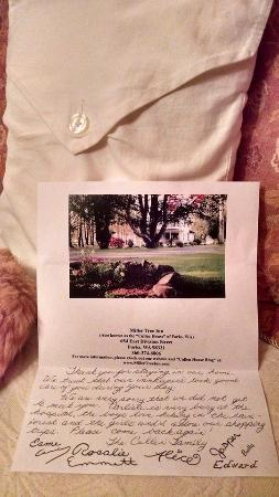 Miller Tree Inn Bed & Breakfast: Welcome letter from the Cullens