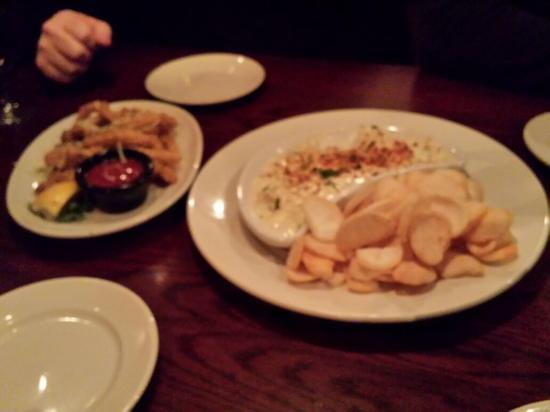 Connors Steak & Seafood: Lobster Dip and Fried Calamari Starters. Bit blurred, did comment in review that the lighting le