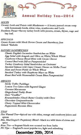 Edwards Waterhouse Inn : Menu for our 2014 Holiday Tea held December 20th.