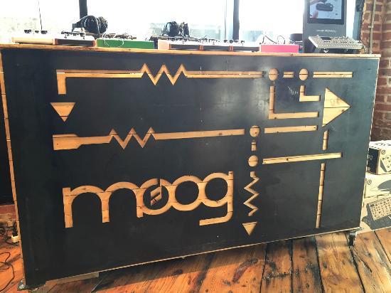 Moog Music Factory Tour: Front dislpay desk for gear.