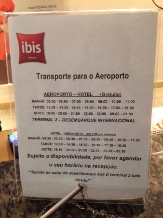 Ibis Guarulhos: Horário do transfer