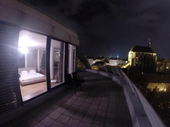 Franciscan Garden Apartments: room + view at night