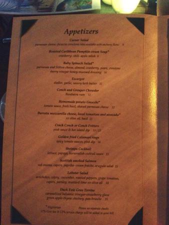 Caicos Cafe Bar & Grill : Menu, page 1