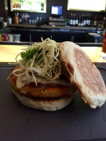 "Hubbell & Hudson Bistro: Salmon Croquette / ""Burger"""
