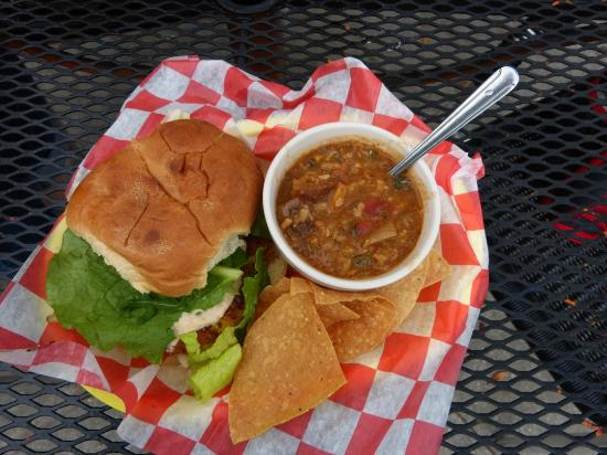 Tangelo's Grille : Crab and Shriimp Burger and Seafood Gumbo Special