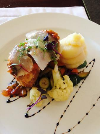 The Restaurant at Clos Malverne: Bacon and herb stuffed chicken breast