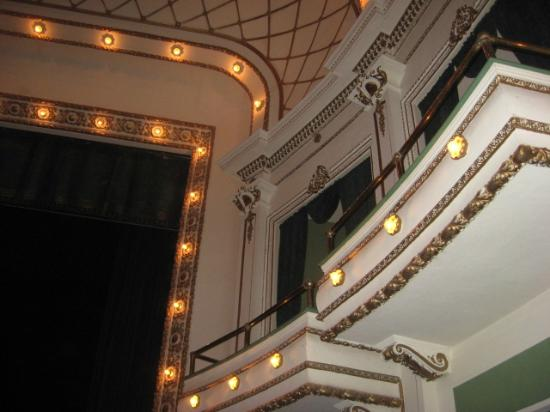 A view of the ceiling lights above the stage at the Brown Grand Theater