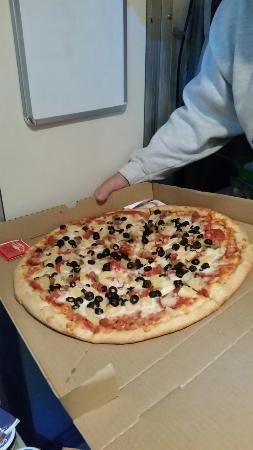 """Sofia's PIzza : 18"""" 4-ingredient $13 barely fit thru the door of our camper"""
