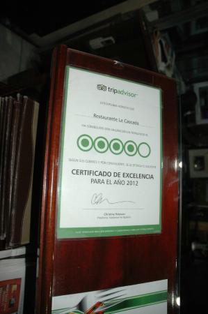 Restaurante La Cascada: Placa do Trip Advidor
