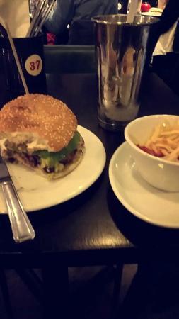 Gourmet Burger Kitchen: Avocado bacon burger with skinny fries and salty caramel shake