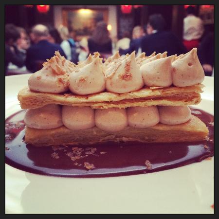 Chez Livio : Mille-feuille praliné choco, dessert du jour, divin