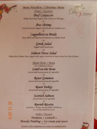 Da Vincenzo: Christmas menu