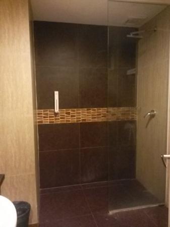 Promenade Hotel: kamar mandi yang bernuansa gelap