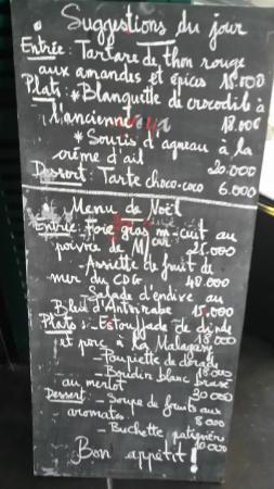 Cafe de la Gare: menu de Noël à l'ardoise