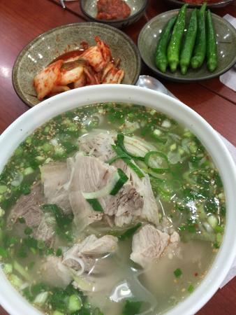 December Hotel Jeju : Black Pork Noodle Soup (KRW7,000 per big bowl) Thumbs up