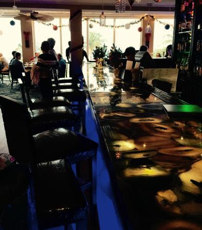 50 Ocean at Boston's on the Beach: 50 Ocean blue onyx bar