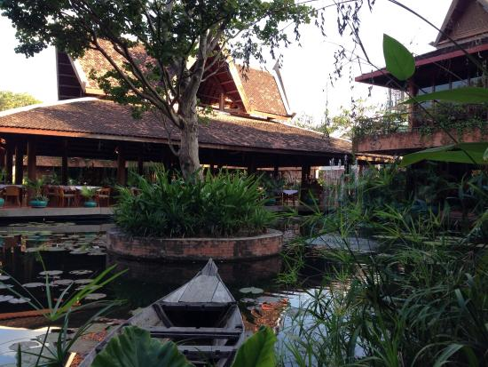 Angkor Village Hotel: View from outside our cabana to the restaurant.