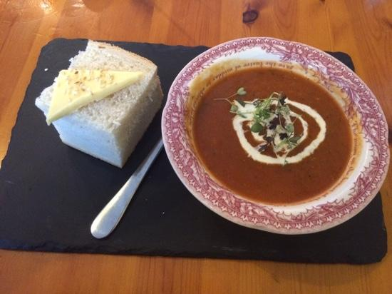 The Gower Kitchen  soup starter. Well presented brownie    Picture of The Gower Kitchen  Swansea