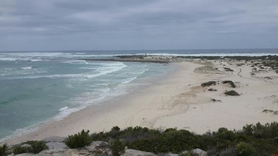 Arniston, Afrique du Sud : Beach view from the top of the hill before you drive down the sand hill.