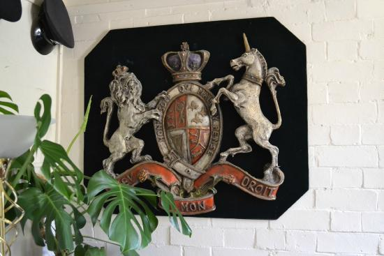 The Courthouse (Henllys): Police insignia ( Reception)