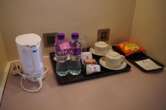 Kimberley Hotel Complimentary Water Coffee Tea Set Up