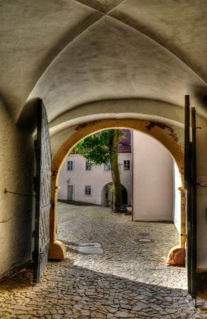 "Colditz Castle: A view into the ""German"" courtyard"
