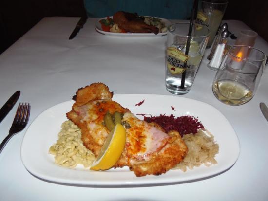 Old Town Beer Hall: Black Forest chicken schnitzel dinner with spatzele, red cabbage & sauerkraut at Old Town Inn, G