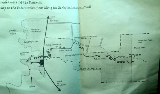 Caspar, Californië: Jughandle State Reserve map to the interpretive posts along the Ecological Staircase Trail