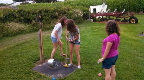 Danville, VT : It was more fun watching the girls play barnyard golf, than playing myself!