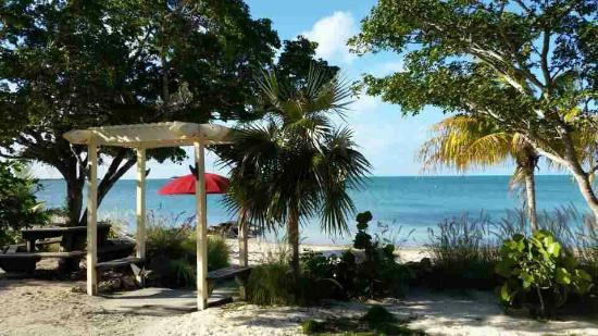 Grotto Bay Bahamas: Private beach (left)