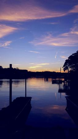 The Wharf Resort: Sunset view from boat dock.