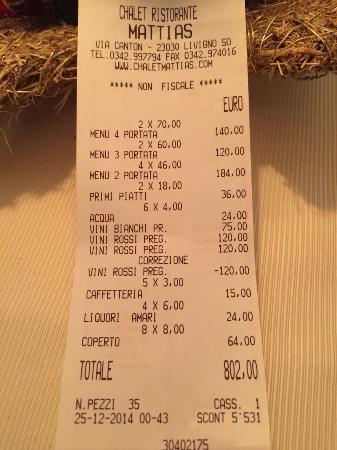 Chalet Ristorante Gourmet Mattias: Nuestra cuenta de 4 adultos y 4 niños