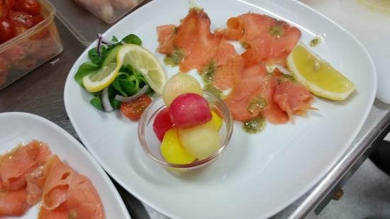 THE IVY: a trio of melon and dressed smoked salmon