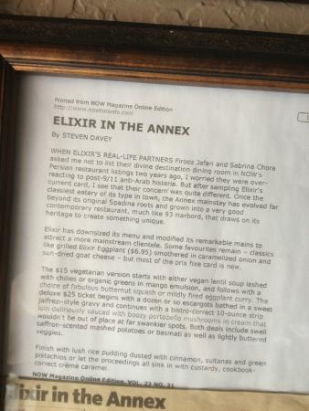 Elixir Bistro: 2002 Bloor street location now  magazine