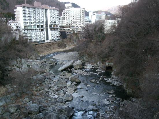 Kinugawa Onsen Fureai Bridge : 橋からの鬼怒川の渓谷と温泉街の眺めが良いです