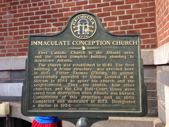 The Catholic Shrine of the Immaculate Conception : Historical plaque