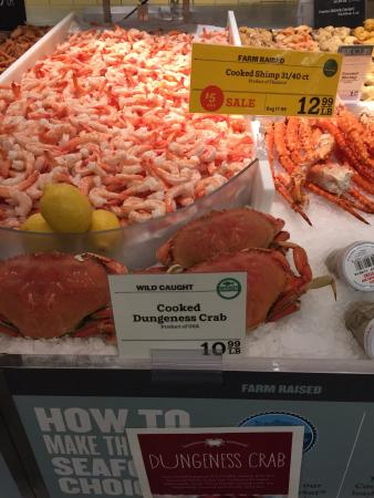 Whole Foods Market : Camarões e caranguejos.