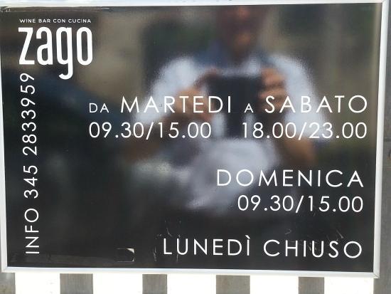 Tricesimo, Italia: Orari del locale