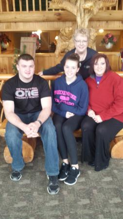 The Lodge at Giant's Ridge: The Front Desk Manager, Cindi, with our family!