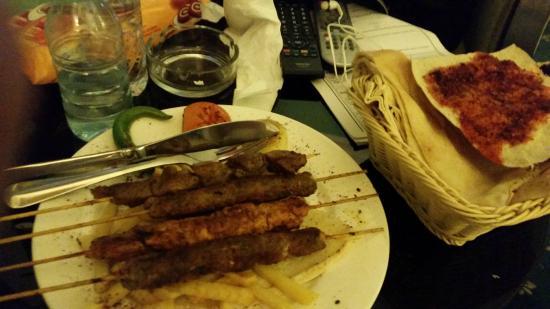 Rama Hotel: room service dinner of grilled meat sampler