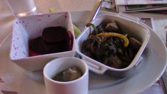 All Aboard Restaurant: Bourbon steak tips, pickled beets, marinated mushrooms