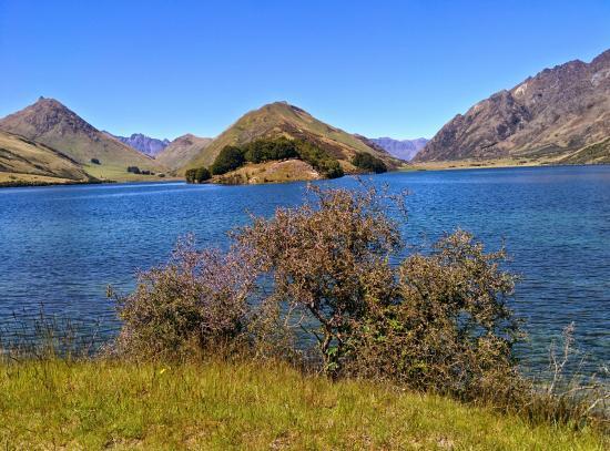 Moke Lake : la pointe de terre en face