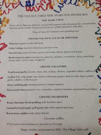 The Village Table: New Year's Eve 2014 Menu.