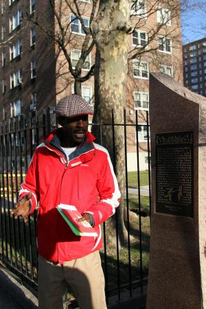 Harlem Heritage Tours: Neal in front of the old location of the Savoy Ballroom
