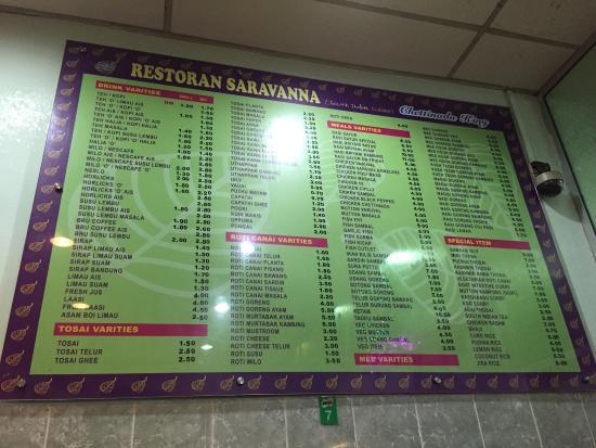 restoran saravanna : The menu