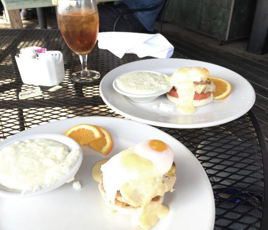 Gabby Crabby  Crab cakes, poached eggs and English muffins with grits...mmmm